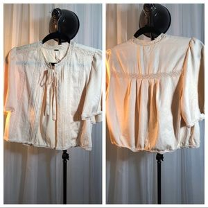 Free People Lace trim Tie Front Shrug